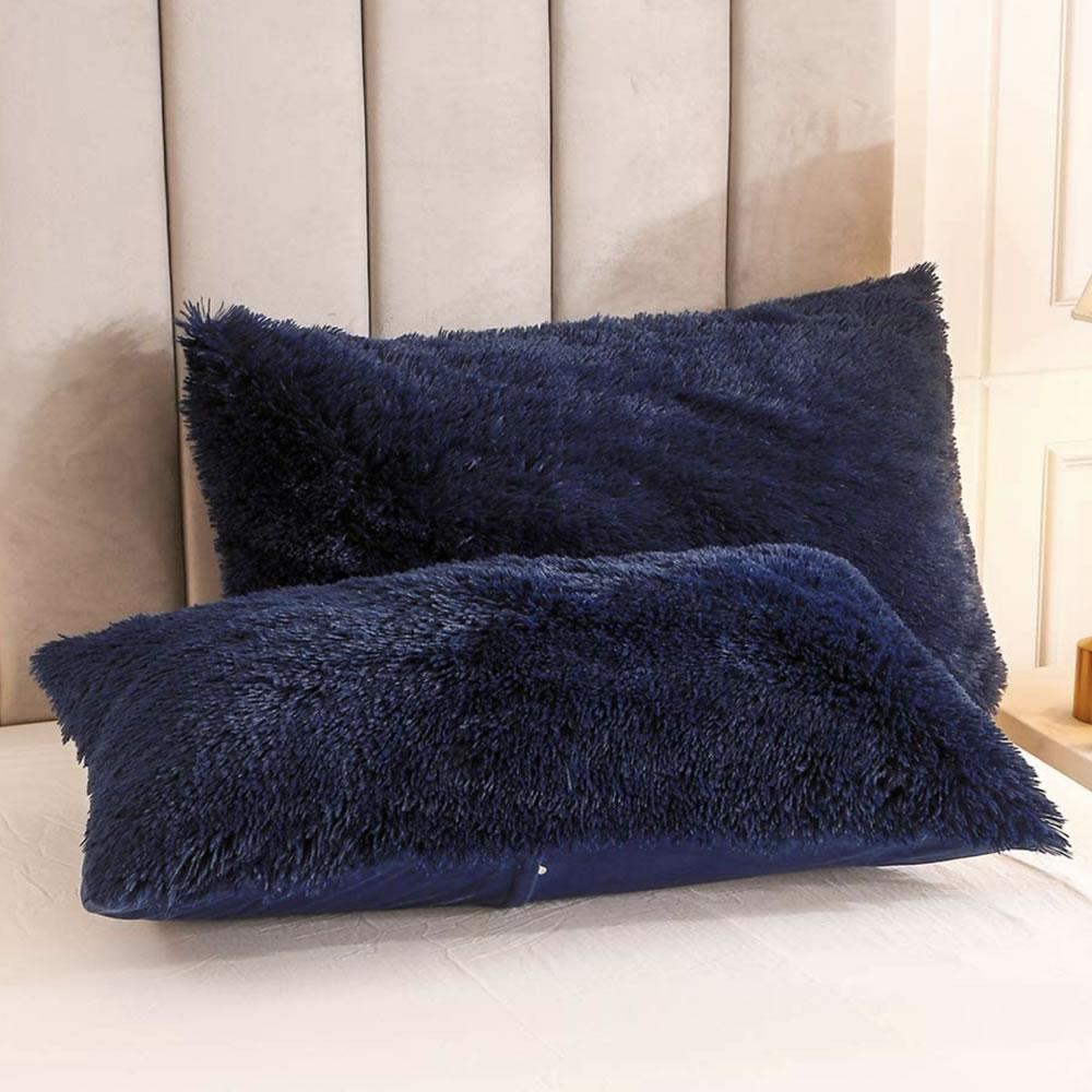 blue fluffy bed linen set
