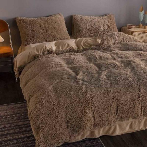 brown fluffy bedspread