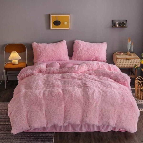 pink fluffy duvet cover